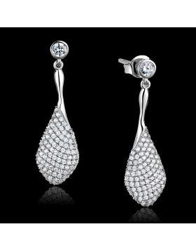 TS324 - 925 Sterling Silver Rhodium Earrings AAA Grade CZ Clear