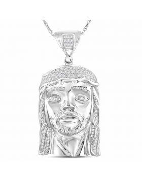 10kt White Gold Unisex Round Diamond Jesus Christ Head Face Charm Pendant 1/4 Cttw