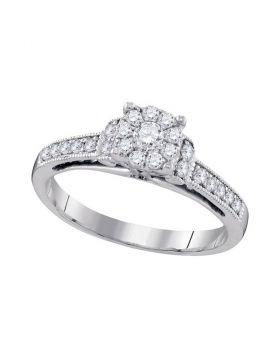 10kt White Gold Womens Round Diamond Cluster Milgrain Bridal Wedding Engagement Ring 3/8 Cttw