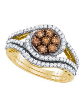 10kt Yellow Gold Womens Round Brown Diamond Bridal Wedding Engagement Ring Band Set 1.00 Cttw