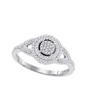 10kt White Gold Womens Round Diamond Circle Cluster Bridal Wedding Engagement Ring 1/4 Cttw