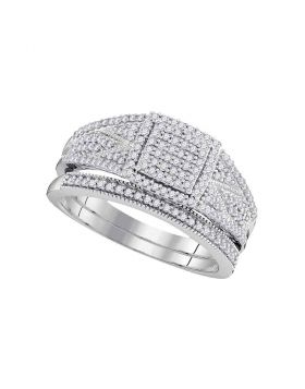 10kt White Gold Womens Round Diamond Square Bridal Wedding Engagement Ring Band Set 1/2 Cttw