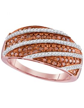 10kt Rose Gold Womens Round Red Color Enhanced Diamond Stripe Ring 5/8 Cttw
