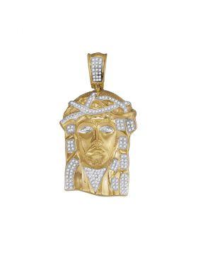10kt Yellow Gold Unisex Round Diamond Jesus Christ Head Charm Pendant 3/8 Cttw