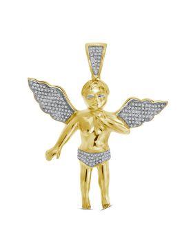10kt Yellow Gold Unisex Round Diamond Charm Pendant 1/2 Cttw