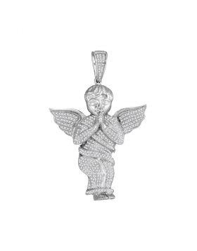10kt White Gold Unisex Round Diamond Angel Cherub Charm Pendant 1.00 Cttw