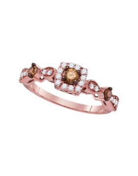 14kt Rose Gold Womens Round Brown Diamond Solitaire Bridal Wedding Engagement Ring 1/2 Cttw