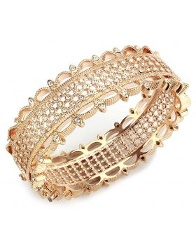 Bangle,Brass,Rose Gold,Top Grade Crystal,Clear