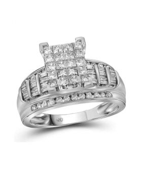 10kt White Gold Womens Princess Diamond Cluster Bridal Wedding Engagement Ring 2.00 Cttw - Size 11