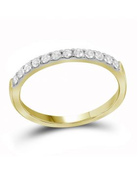 14kt Yellow Gold Womens Round Pave-set Diamond Single Row Wedding Band 1/4 Cttw