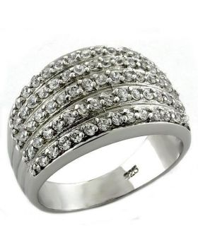 Ring,925 Sterling Silver,Rhodium,AAA Grade CZ,Clear