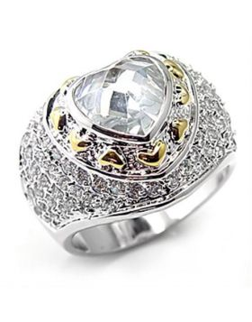 7X066-5 - Brass Reverse Two-Tone Ring AAA Grade CZ Clear