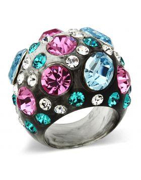 VL103-5 - Resin N/A Ring Top Grade Crystal Multi Color