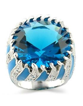 Ring Brass Rhodium Synthetic Sea Blue Synthetic Glass