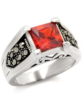 Ring 925 Sterling Silver Antique Tone AAA Grade CZ Garnet