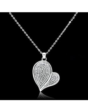 TS048-16 - 925 Sterling Silver Rhodium Chain Pendant AAA Grade CZ Clear