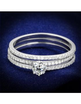 TS347-5 - 925 Sterling Silver Rhodium Ring AAA Grade CZ Clear