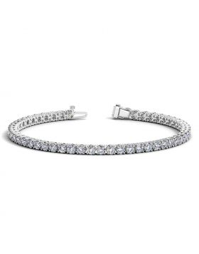 14k White Gold Round Diamond Tennis Bracelet (6 cttw)
