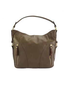Sabrina leather shoulder bag - Taupe