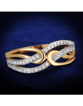 TS361-5 - 925 Sterling Silver Rose Gold + Rhodium Ring AAA Grade CZ Clear