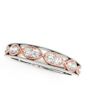 14k White And Rose Gold Infinity Style Diamond Band (1/5 cttw)