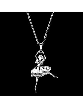 TS163-16 - 925 Sterling Silver Rhodium Chain Pendant AAA Grade CZ Clear