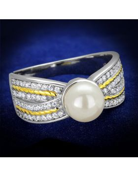 TS377-5 - 925 Sterling Silver Reverse Two-Tone Ring Synthetic White