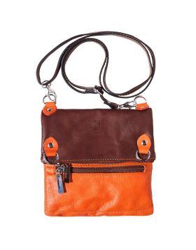 Brigit Shoulder bag in soft genuine leather - Orange/Brown