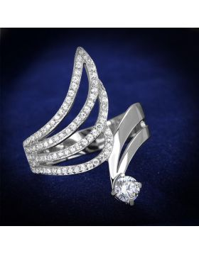TS356-5 - 925 Sterling Silver Rhodium Ring AAA Grade CZ Clear