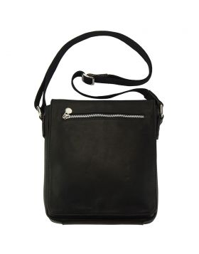 Messenger Camillo GM with genuine leather - Black
