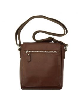 Messenger Camillo with genuine leather - Brown