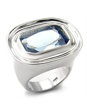 7X165-5 - 925 Sterling Silver Rhodium Ring Synthetic Sea Blue