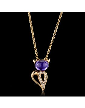TS408-16 - 925 Sterling Silver Rose Gold Chain Pendant AAA Grade CZ Amethyst