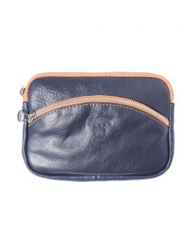 Classic Shoulder Handbag - Dark Blue/Tan