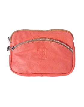 Classic Shoulder Handbag - Salmon Pink/Tan