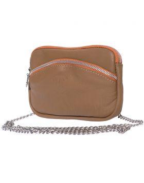 Classic Shoulder Handbag - Dark Taupe/Tan