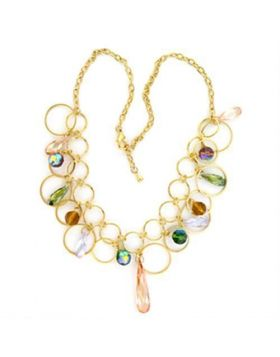 LO724-20 - Brass Gold Necklace AAA Grade CZ Multi Color