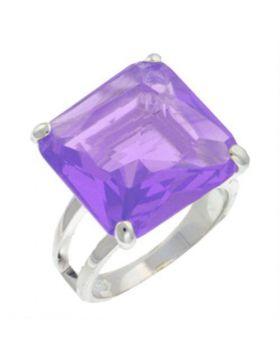 9X030-8 - 925 Sterling Silver High-Polished Ring AAA Grade CZ Amethyst