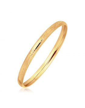 14k Yellow Gold Dome Style Bangle with Diamond Cuts