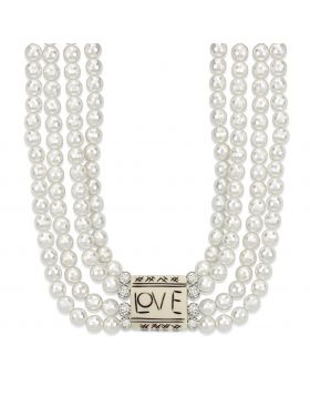 LO3820-14 - White Metal Antique Silver Necklace Synthetic White