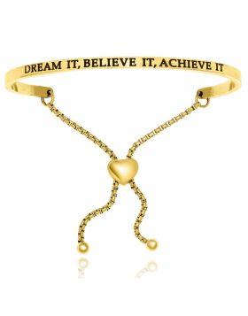 Yellow Stainless Steel Dream It   Believe It   Achieve It Adjustable Bracelet