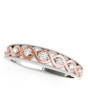 14k White And Rose Gold Infinity Diamond Wedding Band (1/8 cttw)