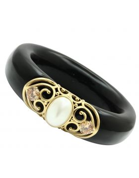 VL032-8 - Brass IP Gold(Ion Plating) Bangle Synthetic White