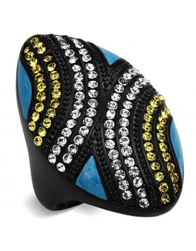 Ring,Stainless Steel,IP Black(Ion Plating),Top Grade Crystal,Citrine Yellow