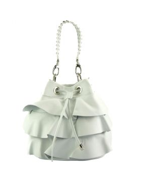Ileana leather bucket bag - White