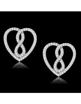 TS549 - 925 Sterling Silver Rhodium Earrings AAA Grade CZ Clear
