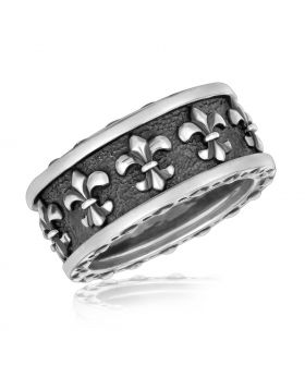 Sterling Silver Ring with Fleur De Lis Motifs