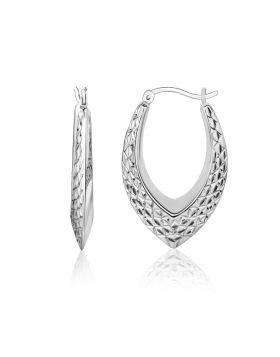Sterling Silver Fancy Weave Style Texture Hoop Earrings