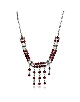 Necklace,925 Sterling Silver,Ruthenium,Top Grade Crystal,Siam