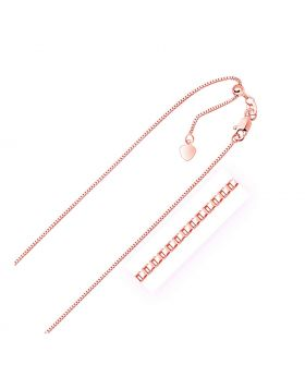 14k Rose Gold Adjustable Box Chain 0.85mm